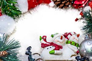 Фото Рождество Снеговики 2 Шапки Шарф