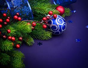 Фотографии Новый год Рябина Ветки Шар Снежинки