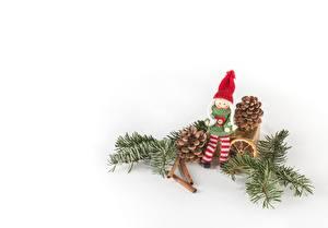 Фото Рождество Зима Шишки Кукла Шапки