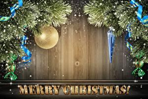 Фотографии Рождество Доски Шар Шаблон поздравительной открытки Английский