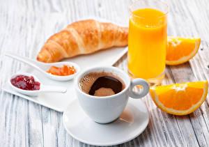 Картинка Кофе Сок Апельсин Круассан Повидло Доски Завтрак Чашка Стакане Пища