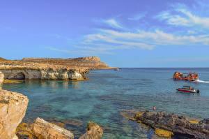 Картинка Республика Кипр Берег Море Небо Катера Утес Cape Greco