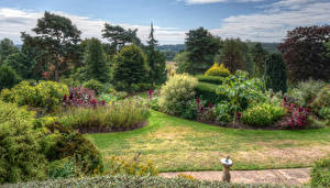 Картинка Англия Сады Деревья Кусты HDR Dorothy Clive Gardens Природа