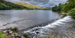 Фотография Англия Река Камни White Moss Природа