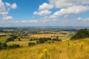 Картинки Англия Пейзаж Осенние Поля Трава Gloucestershire Природа