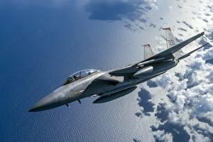 Фотографии Самолеты Истребители Летящий Американские USAF F-15C Eagle