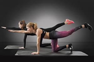 Фотография Фитнес 2 Шатенки Ног Тренировка спортивные Девушки