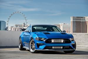 Фото Форд Синий Спереди Mustang GT Bojix Design SEMA 2018 Машины