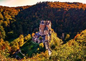 Обои Леса Осень Горы Замки Германия Burg Eltz