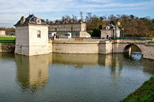 Фотография Франция Замки Мост Водный канал Chateau de Chantilly Города