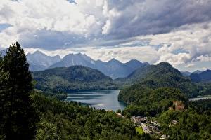 Картинка Германия Озеро Горы Леса Замок Альп Бавария Облако Природа