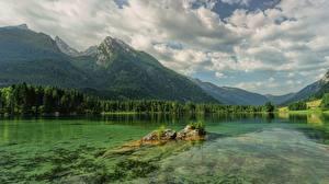 Обои Германия Озеро Горы Облака Альпы Hintersee, Ramsau Природа картинки