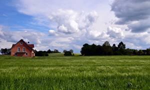 Фото Германия Небо Поля Бавария Облака Природа