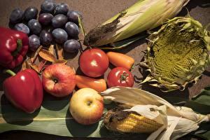 Картинка Виноград Перец Кукуруза Подсолнухи Яблоки Томаты