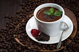 Фотография Какао напиток Кофе Шоколад Малина Зерна Чашка Еда