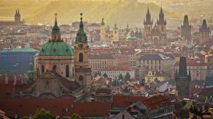 Обои Здания Прага Чехия Купола Города