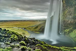 Обои Исландия Водопады Камни Скала seljalandsfoss Природа