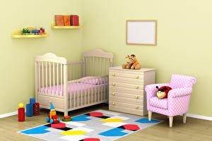 Картинки Интерьер Детская комната Игрушки Дизайн Кровать Кресло 3D Графика