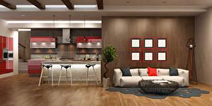 Картинка Интерьер Дизайн Гостиная Диван Кухня 3D Графика