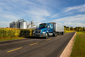Картинка Интернешнл Грузовики Дороги Голубая Едущая 2016-18 LT 56  Lo-Rise 6×4 Tractor авто