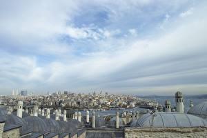 Фотографии Стамбул Турция Небо Дома Крыше Города