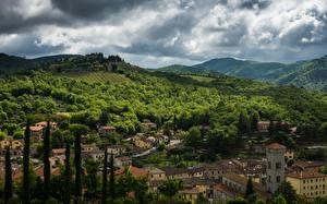 Обои Италия Здания Поля Леса Холмы Chianti Города