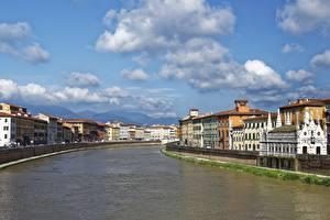 Фотография Италия Тоскана Речка Облака Arno, Pisa Города