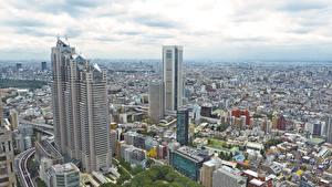 Фото Япония Токио Небоскребы Здания Мегаполис