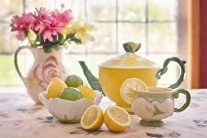 Фотографии Чайник Лимоны Чашка Ваза Пища