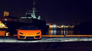 Обои Lamborghini Спереди Оранжевый Ночь Huracan 2016 LP 580-2 Автомобили картинки