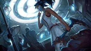 Обои League of Legends Медсестра Униформа Akali Artwork Игры
