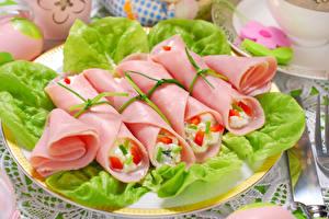 Фотографии Мясные продукты Колбаса Нарезка