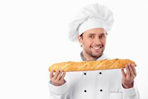 Фото Мужчины Хлеб Белый фон Улыбка Униформа Повар