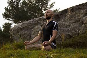 Картинка Мужчины Поза лотоса Трава Без волос Сидящие Йога