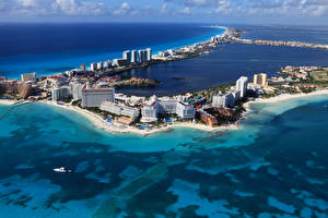 Обои Мексика Море Здания Побережье Cancun