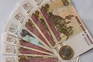 Фотография Деньги Банкноты Монеты Рубли Вблизи 100 10