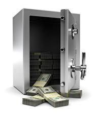 Обои Деньги Банкноты Доллары Белый фон Сейф