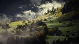 Обои Горы Луга Альпы Туман Деревня