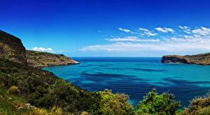 Картинка Новая Зеландия Берег Залив Бухта Wainui Canterbury Природа