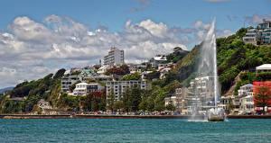 Фотография Новая Зеландия Здания Фонтаны Берег Wellington Города