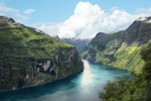 Фотография Норвегия Скала Fjord Природа