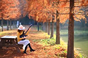 Фото Парки Осенние Гитара Сидящие Шляпа Природа Девушки