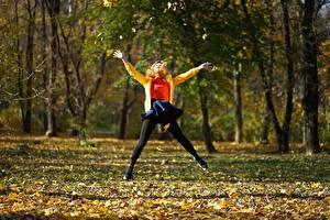 Картинки Парки Осень Прыжок Листья Деревья Природа Девушки