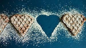 Фотография Выпечка Сахарная пудра Сердце Пища