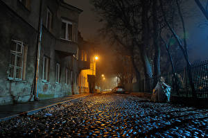Фотография Польша Варшава Здания Улица Ночные Уличные фонари Ограда Города