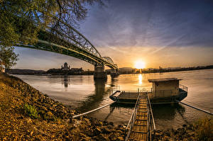 Фотографии Реки Мосты Рассветы и закаты Пирсы Побережье Природа
