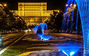 Фото Румыния Здания Фонтаны Ночь Bucharest