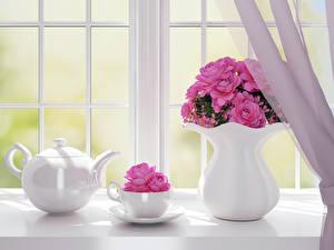 Обои Розы Чайник Окно Вазы Розовая Чашка Цветы 3D_Графика