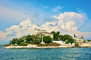 Фото Россия Крым Здания Пирсы Памятники Yalta Города