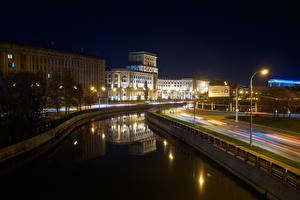 Обои Россия Москва Дома Ночь Уличные фонари Водный канал Bauman Moscow State Technical University Города